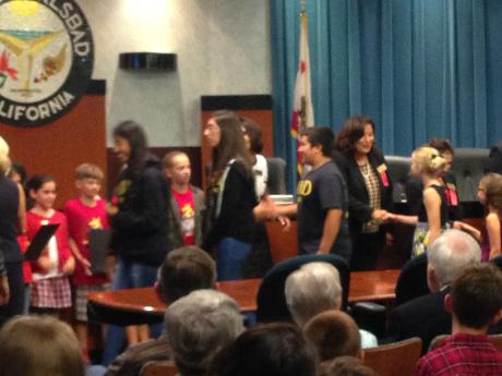 AVID students accepting the The Proclamation for Red Ribbon Week at the City  Hall Meeting last night! Go Lancers!